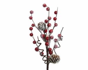 Branche artificelle - Baies/neige et pommes de pin - 30x15 cm