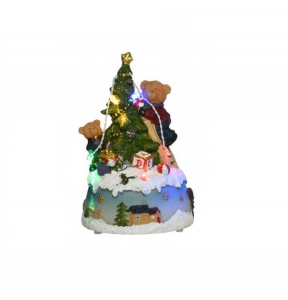 Figurine sapin et ours à leds - 11 X 9 X 16 cm