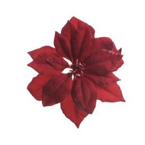 Poinsettia en tissu à clip - Bordeaux pailleté - 24 cm