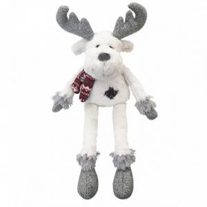 Peluche renne écru et gris écharpe rouge - 70 cm