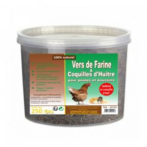 Vers de farine et coquilles d'huitres -Lifland - Pour poules et poussins - Seau de 250g