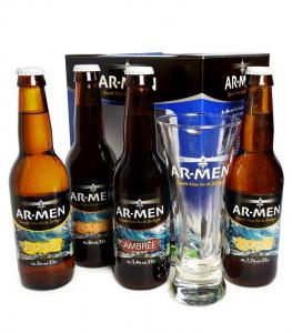 Coffret de 4 Bières Bio avec Verre offert - AR-MEN - 4 x 33 cl