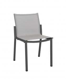 Chaise empilable Amaka - Les Jardins - Alu gris / Toile PVC Gris clair