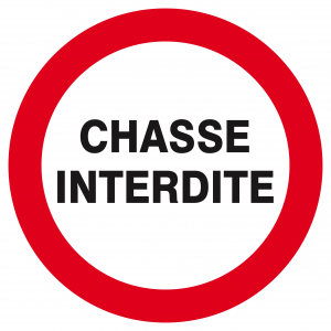 "Panneau Ps choc ""Chasse interdite"" - Taliaplast - Ø 30 cm - Blanc"