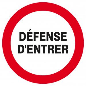 """Panneau Ps choc """"Défense d'entrer"""" - Taliaplast - Ø 30 cm - Blanc"""