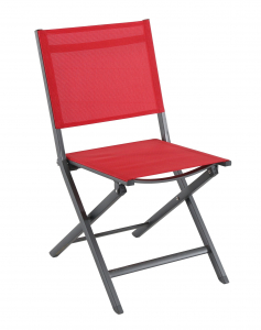 Chaise pliante Censo - Alu / Polyester - Gris mat / Rouge