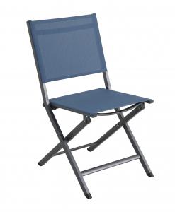 Chaise pliante Censo - Alu / Polyester - Gris mat / Bleu