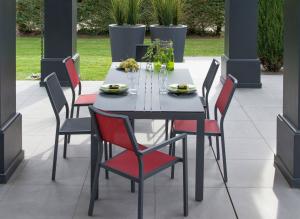 Table Galice - Alizé - 205 x 74 x 90 cm - Gris / Luzerne
