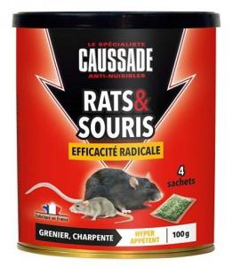 Rats souris forte infestation - Caussade - céréales - 100 gr - x4