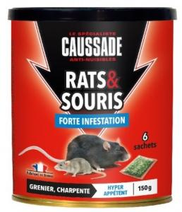 Rats souris forte infestation - Caussade - céréale - 150 gr - x6