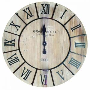 Horloge bois et chiffres romains - 70 cm