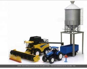Coffret New Rolland moissonneuse batteuse et tracteur + remorque + silo - New Ray - 1/32