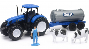 Tracteur New Holland T7.270 + citerne lait  + personnage - New Ray - 1/32