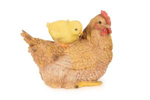 Figurine poule et poussin en résine