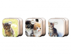 """Savon et Boîte """"Les chats"""" - Galeo - 7,5 x 7,5 x 3,5 cm - Vendu à l'unité"""