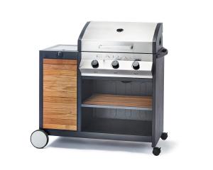 Barbecue Meridian Woody - Cadac - gaz - Inox avec finition bois -  115 x 115 x 60 cm