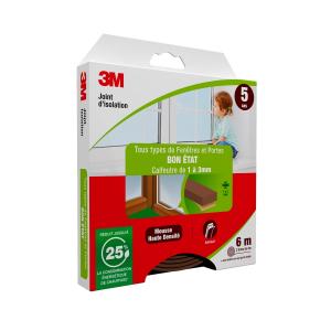Joint d'isolation pour Porte et fenêtre Bon état - 3M - Marron - 1 à 3 mm - 2 x 3 m