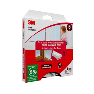 Joint d'isolation pour Porte et fenêtre Très mauvais état - 3M - Blanc - 2,5 à 6 mm - 2 x 3 m