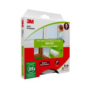 Joint d'isolation pour Porte et fenêtre Bon état - 3M - Blanc - 1 à 3 mm - 2 x 3 m