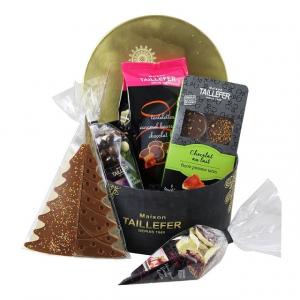 Coffret boîte ronde noël - Maison Taillefer - or - chocolat - 520 gr
