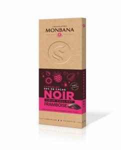 Tablette de chocolat noir coeur coulant framboise - Monbana - 100 gr