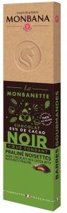 Barre chocolat noir coeur fondant praliné noisettes - Monbana - 40 gr