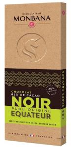 Tablette chocolat noir Equateur - Monbana - 100 gr