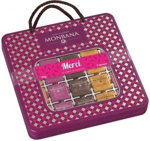 Coffret 50 carrés de chocolat Merci - Monbana - 195 gr