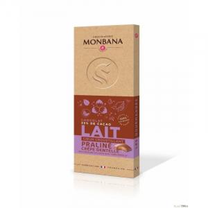Tablette de chocolat au lait cœur croustillant praliné - Monbana - 100 gr