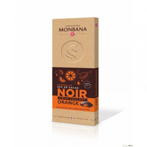 Tablette chocolat noire cœur coulant orange - Monbana - 100 gr
