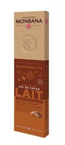 Barre chocolat praliné noisettes et éclats de caramel - Monbana - 40 gr