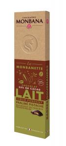 Barre de chocolat au lait cœur fondant praliné pistache - Monbana - 40 gr