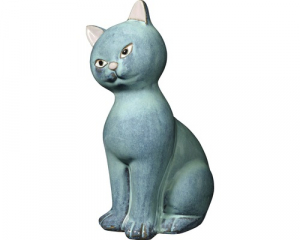 Statue chat Mister Siam Babylone - Gris - 30,5 cm