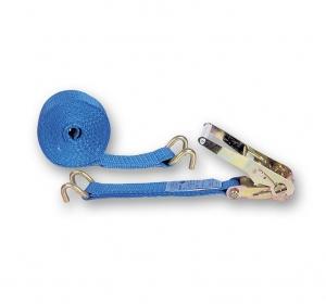 Sangle d'arrimage avec tendeur à cliquet + 2 crochets ouverts - Chapuis Jean - Polyester - 50 mm x 6 m - Bleu