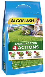 Engrais gazon 4 actions - Algoflash - 250 m2 - 10 kg