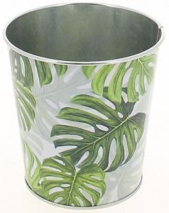 Cache pot motif feuilles vertes - Horticash - zinc - Ø 12 cm