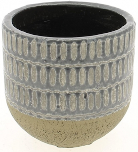 Cache pot gris motif alvéoles - Horticash - ciment - Ø 15.5 cm