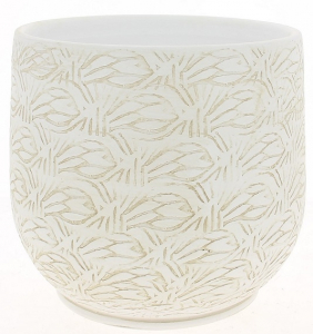 Cache pot blanc patine graphique - Horticash - céramique - Ø 17 cm