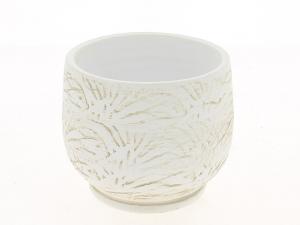 Cache pot blanc patine graphique - Horticash - céramique - Ø 14 cm