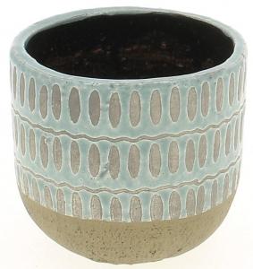 Cache pot turquoise motif alvéoles - Horticash - ciment - Ø 15.5 cm