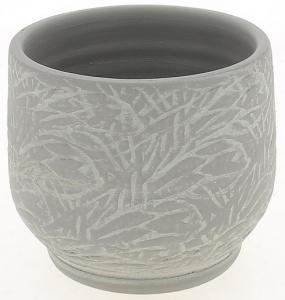 Cache pot gris patine graphique - Horticash - céramique - Ø 17 cm