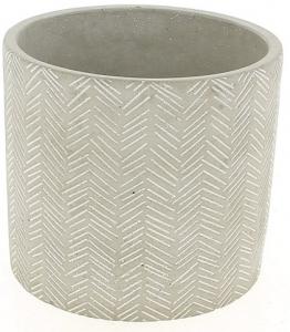 Cache pot gris clair design épis - Horticash - ciment - Ø 10.5 cm