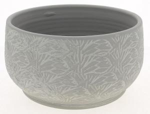 Cache pot gris patine graphique - Horticash - céramique - Ø 22 cm
