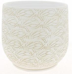 Cache pot blanc patine graphique - Horticash - céramique - Ø 24 cm