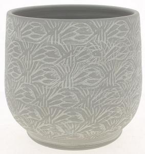 Cache pot gris patine graphique - Horticash - céramique - Ø 24 cm