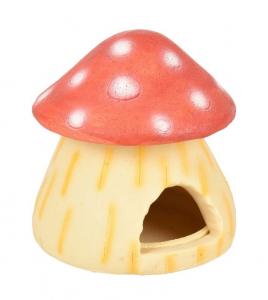Maison champignon 'Fantasia' pour hamsters - Flamingo - 10 x 10 cm - Rouge à pois blancs