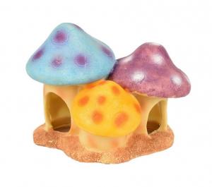 Maison champignons Trio 'Fantasia' pour hamsters - Flamingo - 2 entrées - 11 x 9 cm