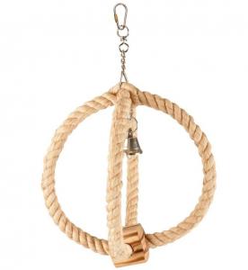 Accessoires perruche - Flamingo - Sphère corde avec bois et cloche