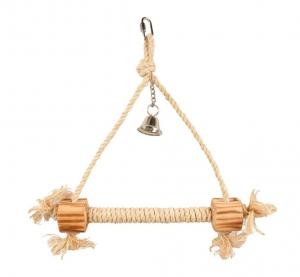 Accessoires perruche - Flamingo - Triangle en corde avec cloche