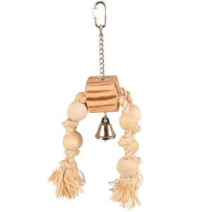 Accessoires perruche - Flamingo - Pendentif bois + corde